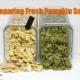 fresh white pumpkin seeds next to pepitas
