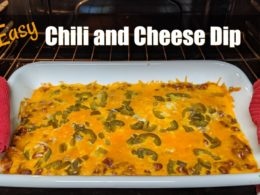 casserole dish of chili and cheese dip