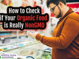man checking package of organic nongmo food