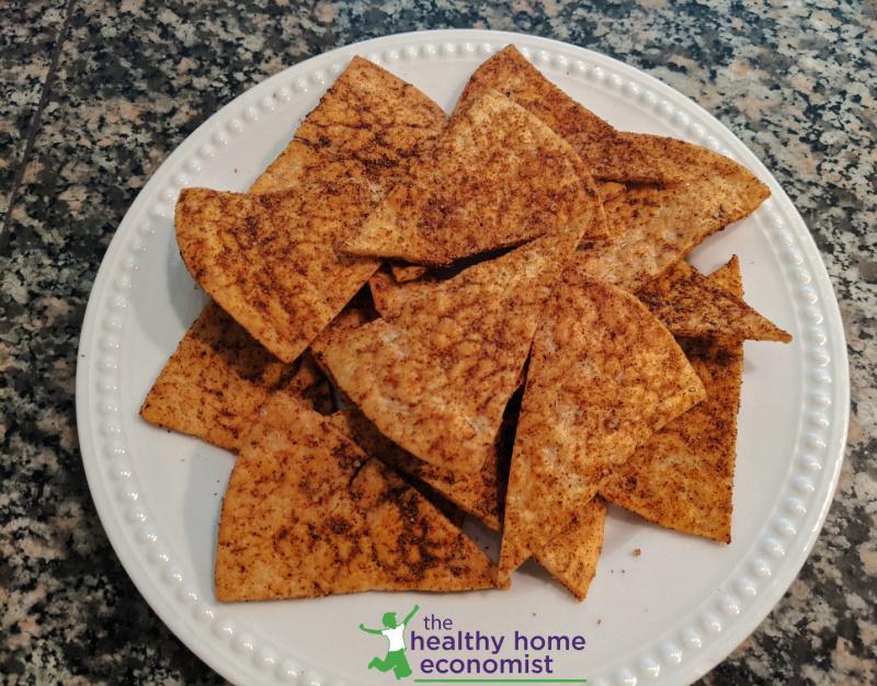 healthy homemade doritos on a white plate