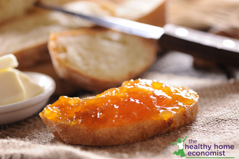 fermented apricot butter on a slice of toast