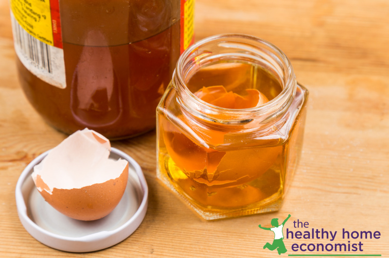 eggshells and acv in a jar as a natural calcium supplement