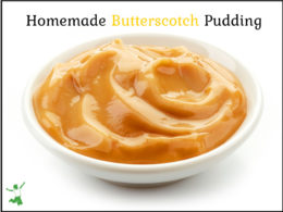 bowl of homemade butterscotch pudding with a white background